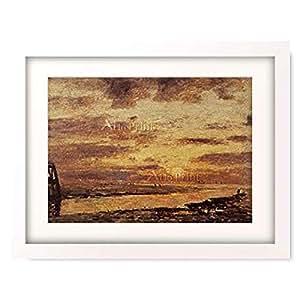 ウジェーヌ・ブーダン Boudin, Eugene 「Sonnenuntergang uber dem Meer bei Trouville. 1873.」 額装アート作品