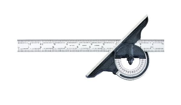 12 Size 12 Size 0-180 Degree Starrett C491-12-4R Reversible Bevel Protractor With Black Wrinkle Finish 4R Graduation