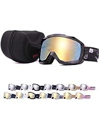 UNIQFUN(ユニクファン) スキーゴーグル ゴーグル スノーボード スキー ミラーレンズ ダブルレンズ 曇り止め UVカット メンズ レディース ケース付 メガネ併用 眼鏡対応 ヘルメット可