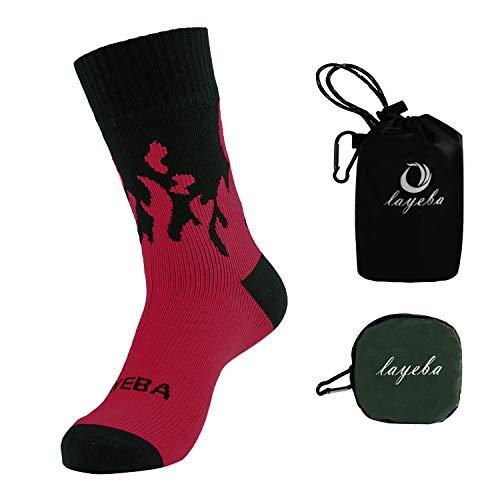 Layeba 防水ソックス 防水通気靴下 防寒 100%防水 登山 スキー 通勤 釣り ソックス 男女兼用 レッド S