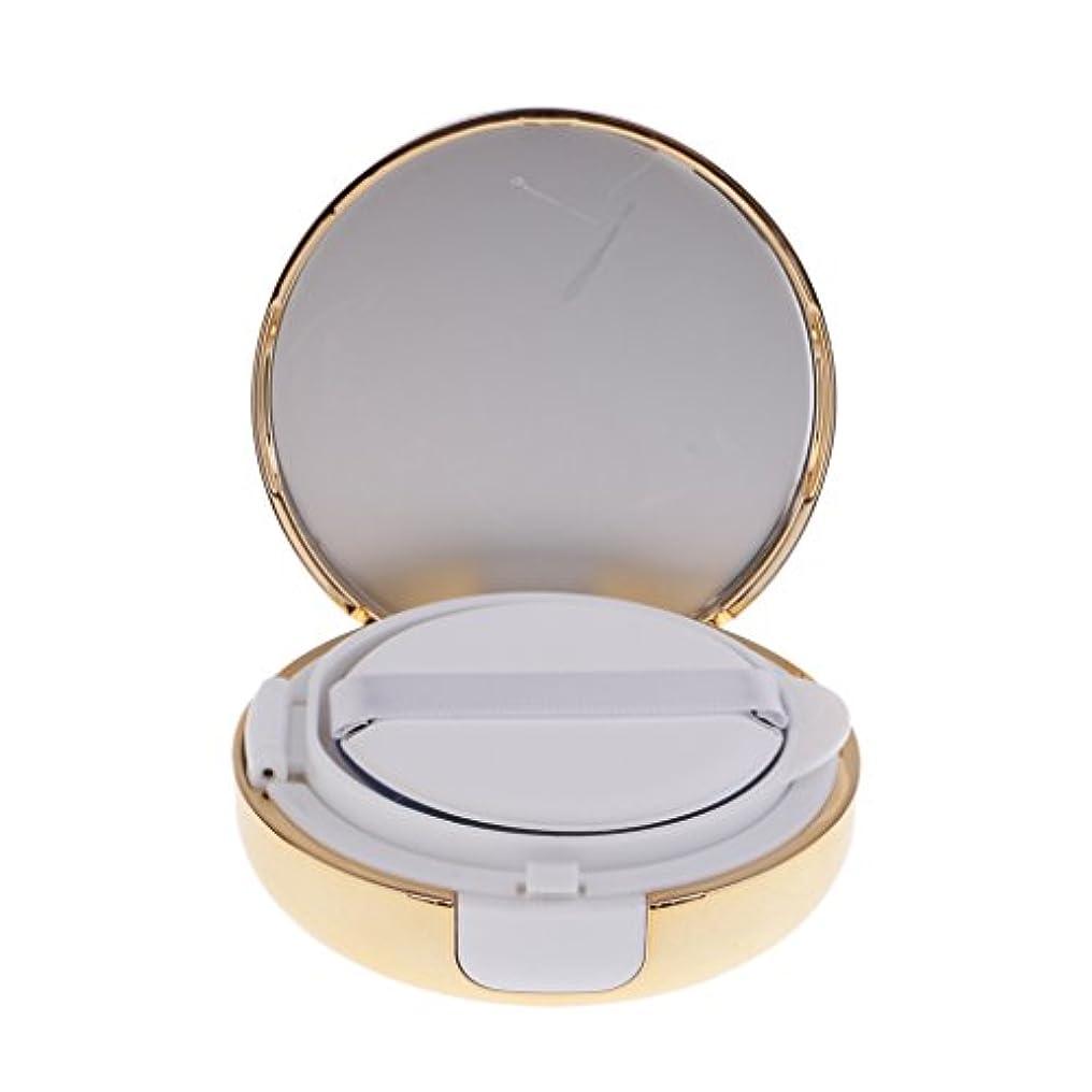 気づくフォルダ慈善Kesoto メイクアップ 空パウダーコンテナ ファンデーションケース エアクッション パフ BBクリーム 詰替え 化粧品 DIY プラスチック製 2色選べる - ゴールド