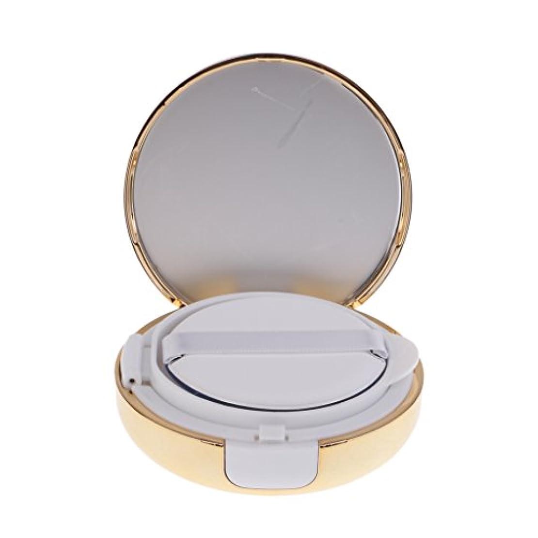 シャイニング判定独占Kesoto メイクアップ 空パウダーコンテナ ファンデーションケース エアクッション パフ BBクリーム 詰替え 化粧品 DIY プラスチック製 2色選べる - ゴールド