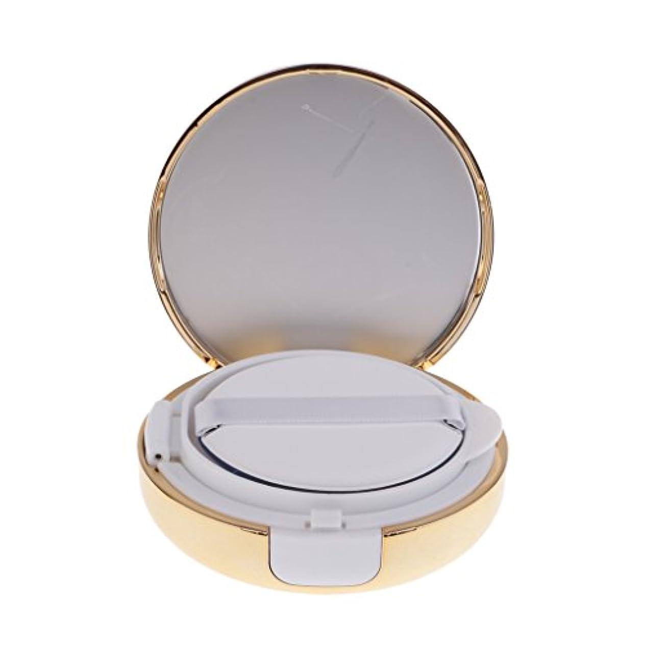 不運ビュッフェ姉妹Kesoto メイクアップ 空パウダーコンテナ ファンデーションケース エアクッション パフ BBクリーム 詰替え 化粧品 DIY プラスチック製 2色選べる - ゴールド