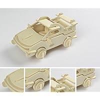 HuaQingPiJu-JP 創造的な木製の3Dパズルアーリーラーニングの形状透明なツール子供のためのおもちゃのファンタスティックギフト(車)