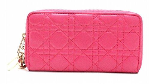 [クリスチャン ディオール] Christian Dior レディディオール カナージュ ラウンドファスナー 長財布 レザー ロゴ チャーム ピンク