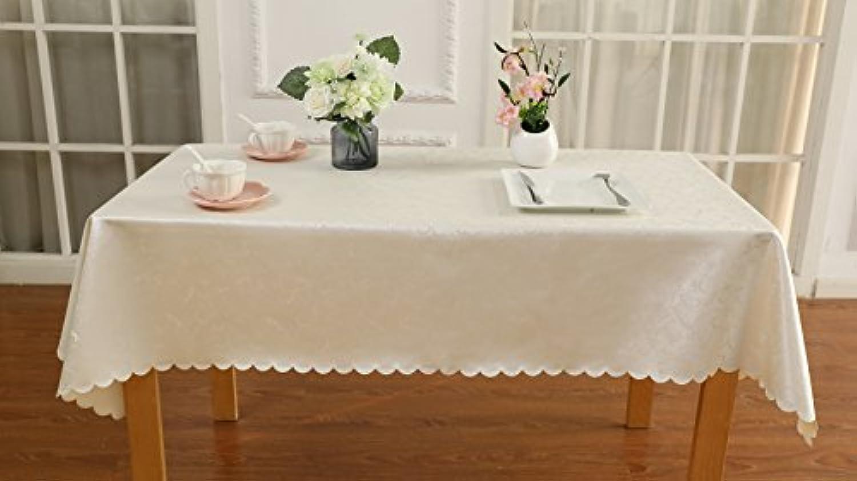 テーブルクロス XCHEN食卓カバー 表面は新型PUバックコットングリッド素材撥水撥油?耐熱?防傷性北欧風のデザイン (ホワイト, 100 * 100cm)
