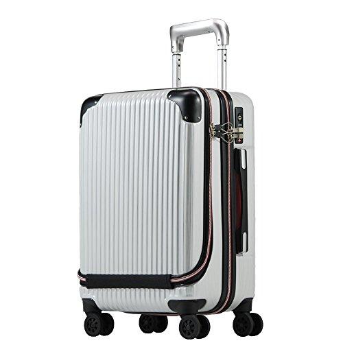 Proevo スーツケース 機内持込 MAX 軽量 小型 フロントオープン 消音ダブルキャスター 8輪 【W-Receipt】 キャリーケース キャリーバッグ 前ポケット (Sサイズ(約36L), スクラッチ/シャンパン)