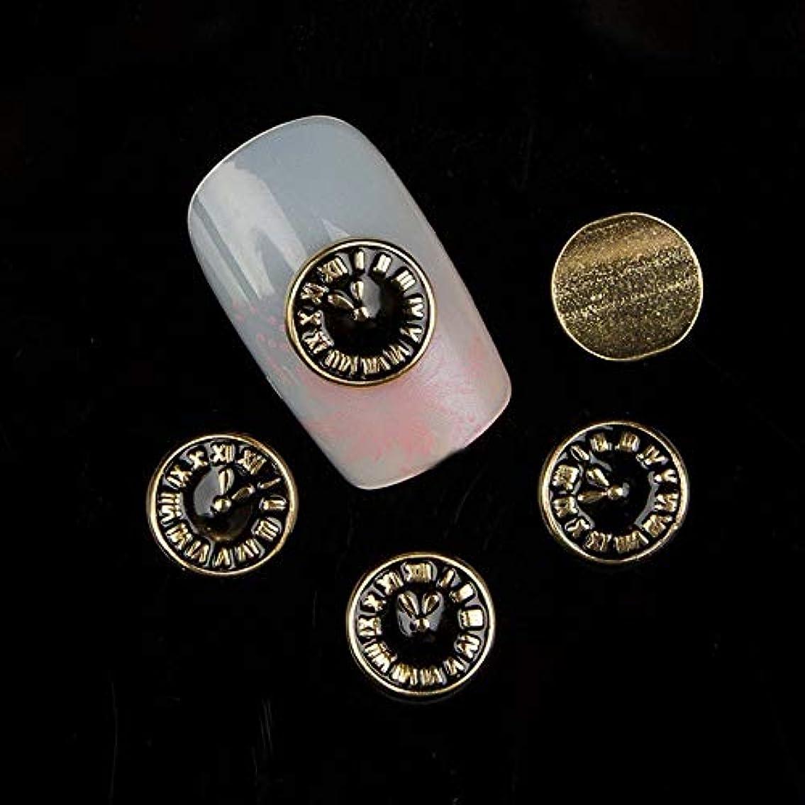 多様体付与力強い10個入り/ロットゴールドブラックネイル合金スタッド3Dメタル時計ネイルアートの装飾マニキュアデザイン