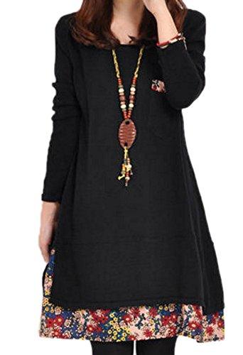 レディース ワンピース チュニック 花柄 カジュアル シンプル ブラックネイビー イエロー レッド グリーン XL, ブラック