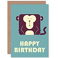 BIRTHDAY CHILD KIDS BOYS MONKEY DARK ART GREETINGS GREETING CARD GIFT