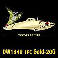 フェザー2色メタルベイト釣りと1PC鉛筆-VIB釣りルアー7センチメートル-8センチメートル/ 15グラム、20グラムベースベイト6#高炭素フックタックル 20Gゴールド