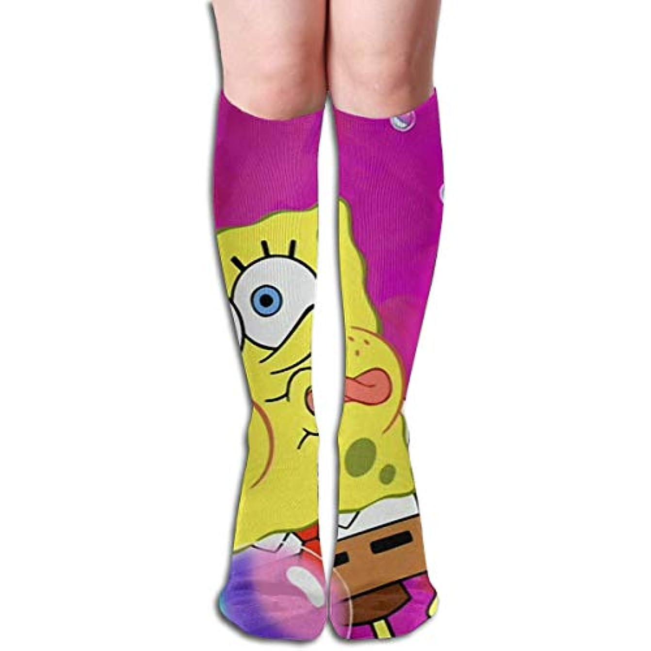 コショウ製造設置qrriy紫スポンジボブチューブストッキングレディース冬暖かい膝ハイソックスブーツ靴下