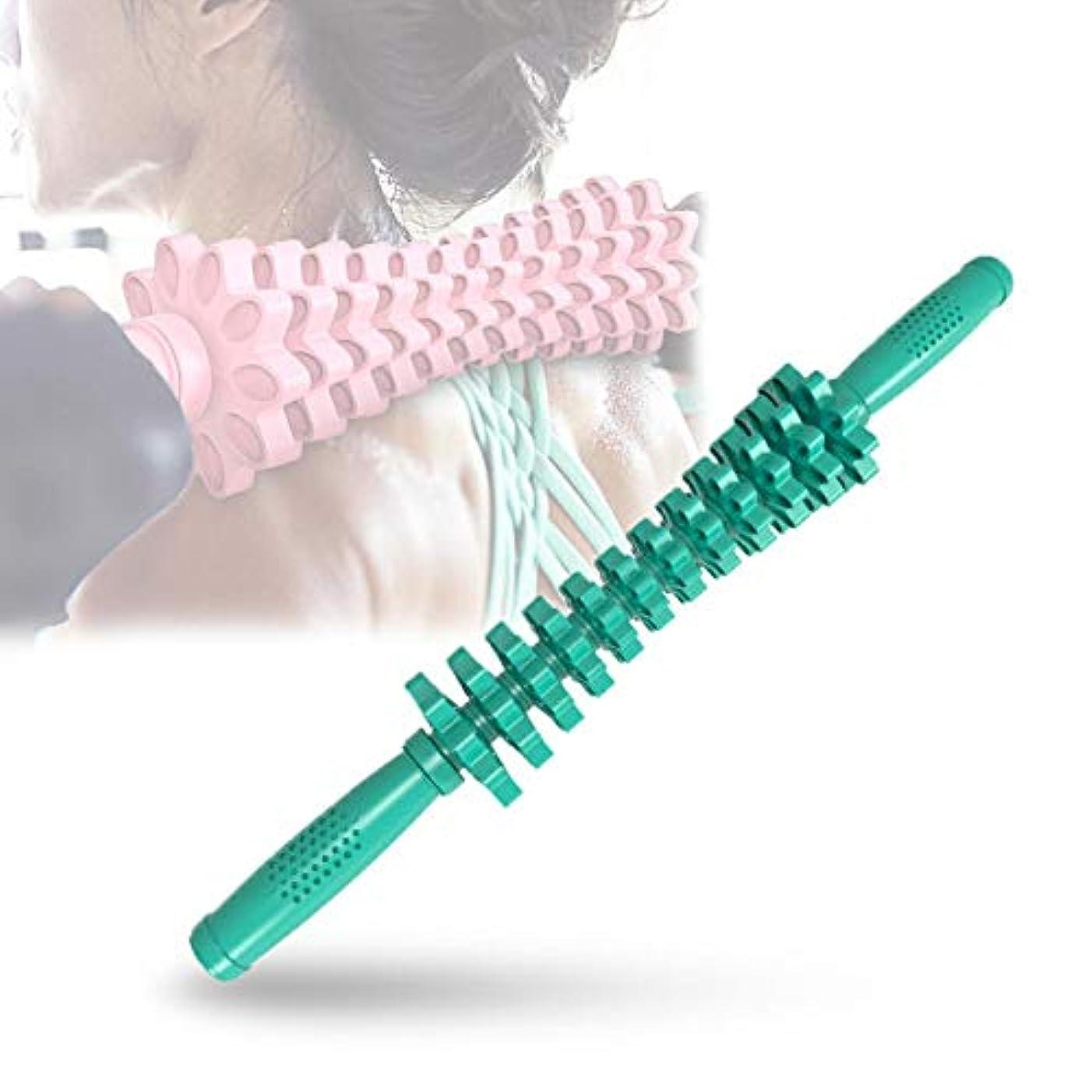 建築メタリック広まったフォームローラー 筋肉マッサージおよび筋筋膜のトリガーポイント解放のためのギヤマッサージャーの取り外し可能なポリ塩化ビニールの快適な滑り止め,Green