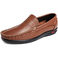 xinluoniya Men's Leather Slip On Penny Loafers Driving Shoes Comfortable Moccasins