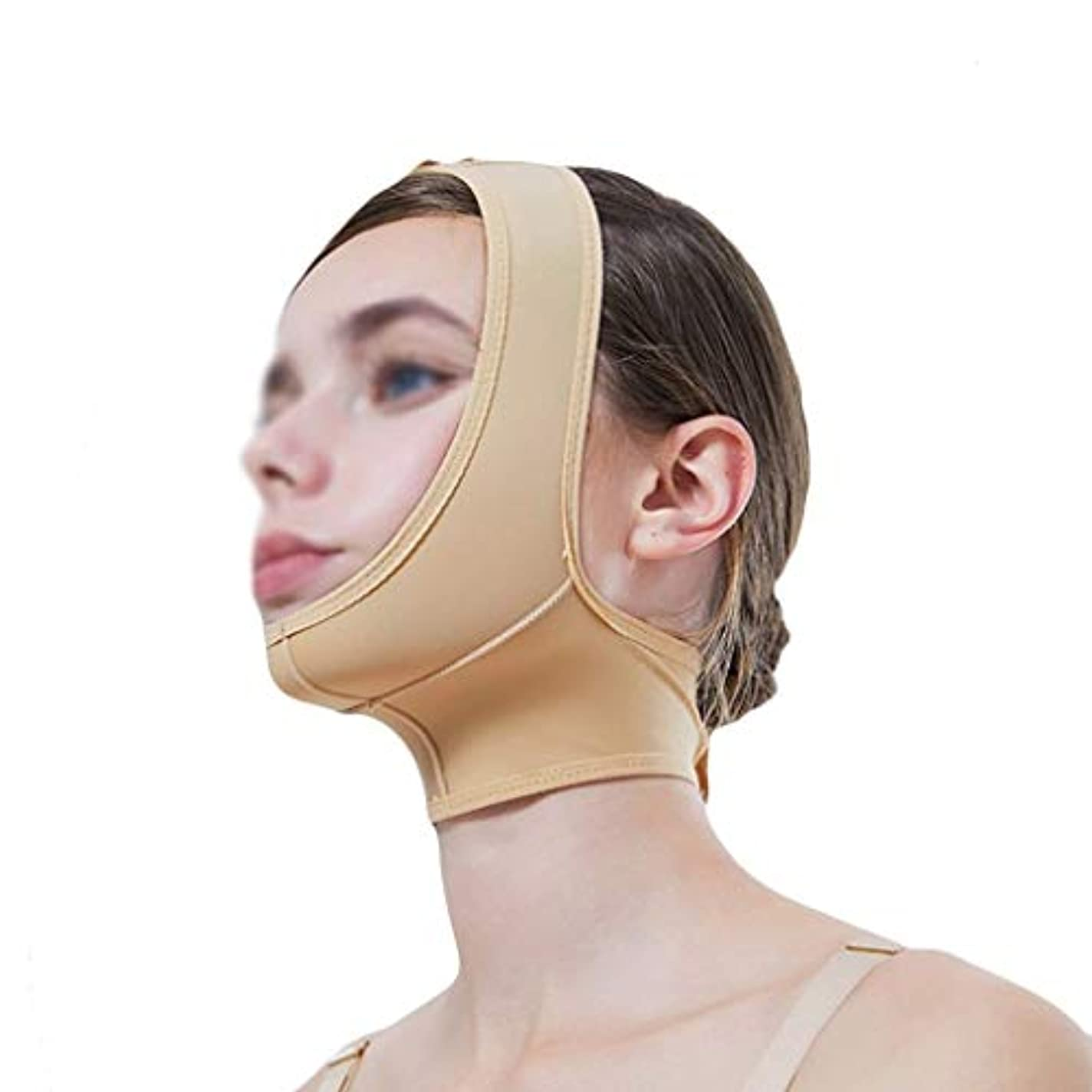 作家り少しマスク、超薄型ベルト、フェイスリフティングに適し、フェイスリフティング、通気性包帯、あご取りベルト、超薄型ベルト、通気性(サイズ:XL),XL
