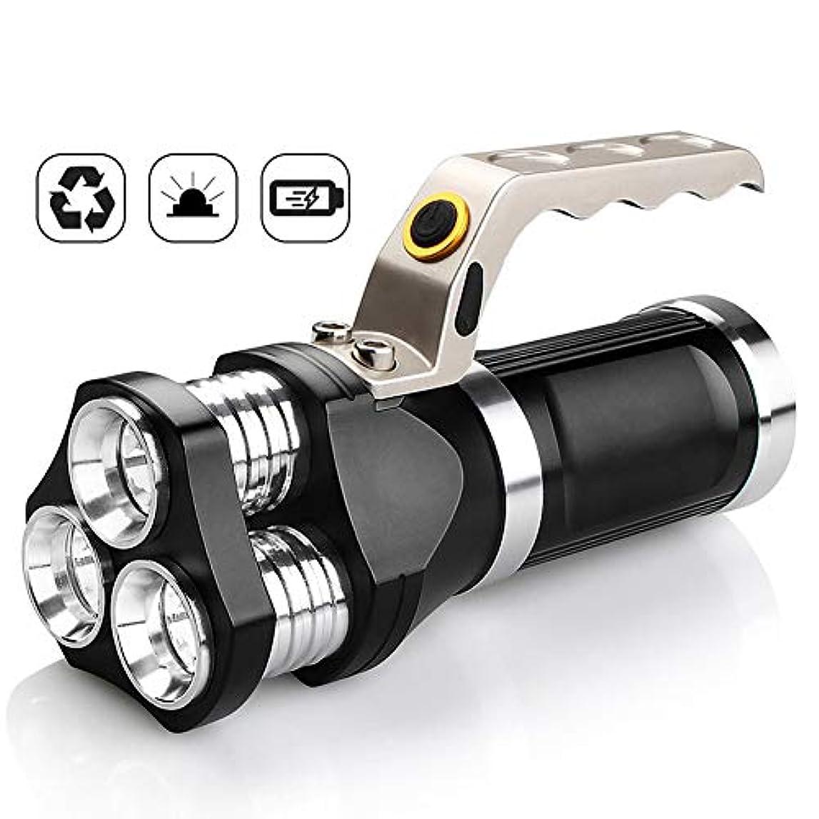 故意の甘美な細断LED充電式ハンドヘルドサーチライト、ハイパワースーパーブライト3000ルーメン、防水サーチライト、ブライトヘッドライト、キャンプ、ランニング