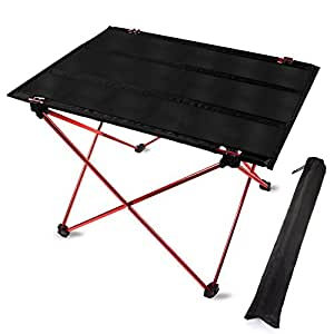 Winhi アウトドアテーブル 折り畳みテーブル ロールテーブル キャンプ コンパクト用 軽量 バッグ付き BBQアウトドア オックスフォード ビーチ アルミニウム合金