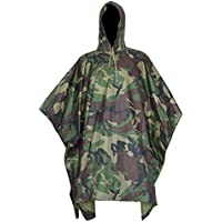 SODIAL Multifunctional Military Cold Camouflage Raincoat Waterproof Raincoat Men's and Women's Camping Fishing Motorcycle Awning Woodland Camo