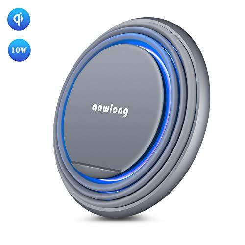 QI ワイヤレス充電器 LEDランプ アンドロイド android スマホ充電ステーション スタンド チャージャーライト iPhone X/XS/XR/XS Max/ 8/8 Plus Qi 7.5W急速充電対応 Galaxy S10+/S10/S10e/S9/S9 Plus/Note8/S8 Plus/S8/S7/S7 Edge/Note 5/S6 Edge Plus 10W対応 その他Qi対応機種置くだけ スペースグレイ