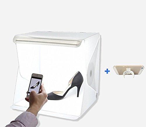 hana 簡易 撮影 ボックス woodystudio 組立式 スタジオ 照明キット スマホスタンド セット (39×39)
