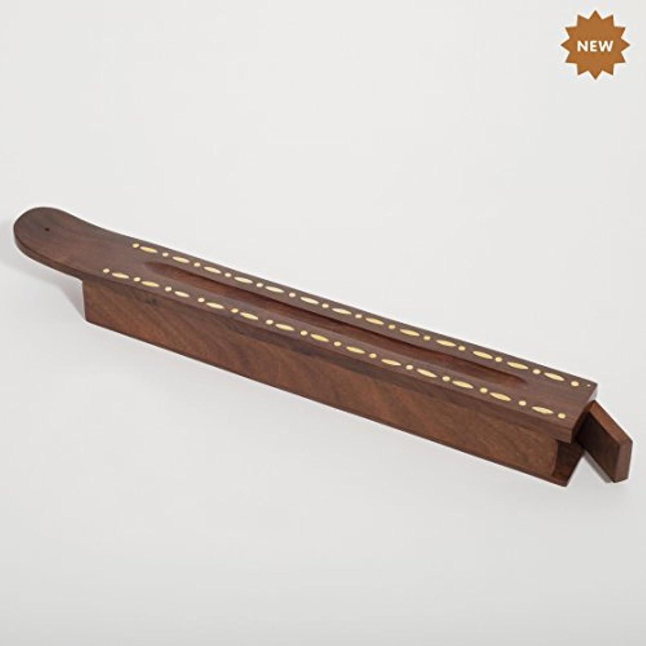 チョコレート転倒さようならRusticity 木製お香スタンド お香スティック 収納スロット付き 細めインレー ハンドメイド (12 x 1.4インチ)