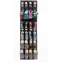 靴の上にオーガナイザー、lehosek通気性メッシュ靴オーガナイザー24ポケットソート、靴とアイテム3メタルフックで含ま ブラック
