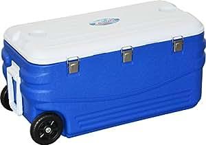 FIELDOOR クーラーボックス100L キャスター付き ブルー (約)幅89cm×奥行き43.5cm×高さ43.5cm (3層構造保冷/2WAYハンドル)