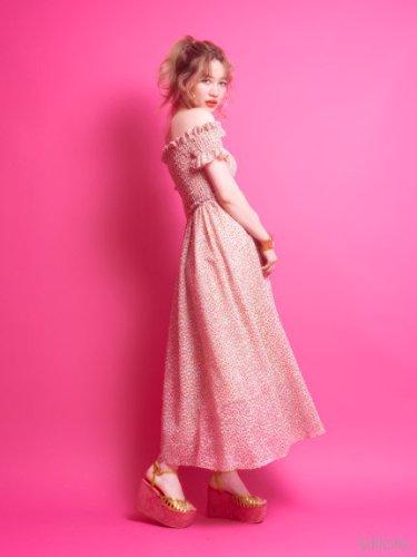 lilLilly (リルリリー)フラワープリントシャーリングロングドレス ORANGE FREE