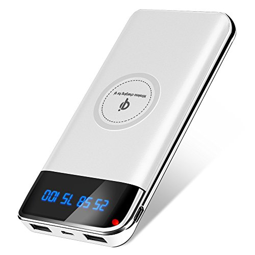 Delitooモバイルバッテリー Qi ワイヤレス充電 12000mAh 急速充電 2USBポートTYPE-C/Micro-USBポート搭載 無線充電器 iPhone8/8Plus / iPhone X / Galaxy 8/8+ 各種他対応 (ホワイト)