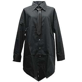 【Deorart ディオラート】ドルマン 燕尾 ロングチュニックシャツ ネクタイ付 DRT2317 (ブラック,M)
