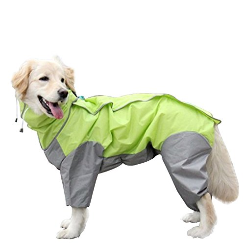 OAK 中型犬 大型犬 レインコート カッパ 犬用合羽 丸ごと包み 繰り返し洗える 梅雨 汚れ防止 濡れない (28号, グリーン)