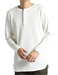 (モノマート) MONO-MART ワッフル編み オーバーロング カットソー サイドスリット ヘムライン 長袖 ワッフル Tシャツ メンズ