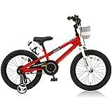 ROYALBABY(ロイヤルベイビー) 子ども用自転車 18インチ RB-Freestyle BMXスタイル フルカバーチェーンケース リアバンドブレーキ 取っ手付きサドル レッド