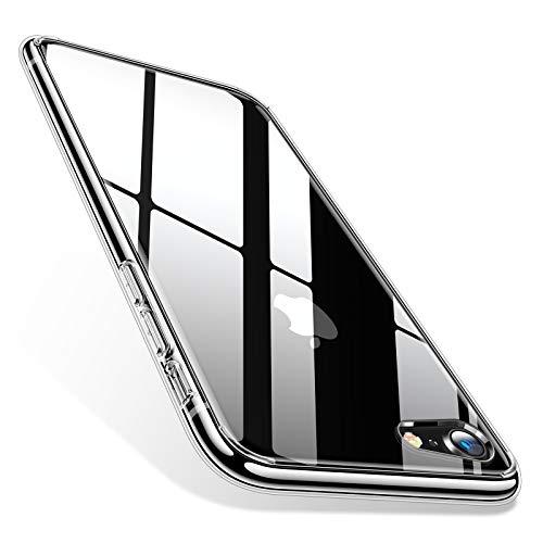 TORRAS iPhone8 ケース iPhone7ケース 9H 背面強化ガラス 高透明 三層構造 黄変防止 四隅滑り止め ストラップホール付き ネイキッド (クリア)[ Fancy Series]