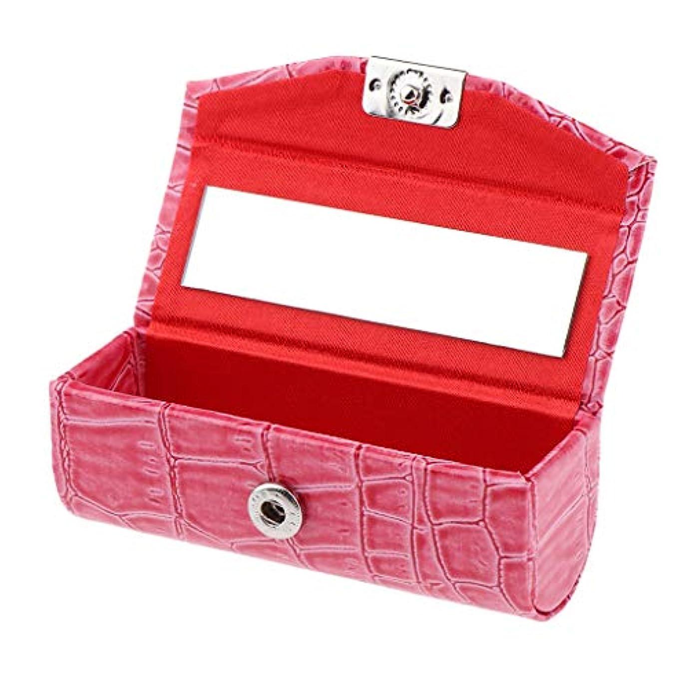 吐き出すシュガー豚B Baosity 口紅ケース コインケース ミラー付き リップグロス ジュエリー 収納ボックス 多色選べ - ローズレッド