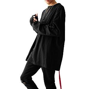 ブラック F (ベストマート) BestMart デザイナーズ ゆったり ビッグシルエット Tシャツ ベルトテープ 付き コットン 100% 長袖 メンズ 長そで 無地 袖長 ロングスリーブ ドロップショルダー 肩落ち テープ ロング丈 カットソー Uネック ストリート系 622792-010-001