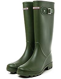 [プチプライム] ロング 筒高 長い カラフル フロント 英字 ロゴ アーミー 防水 おしゃれ レイン ブーツ