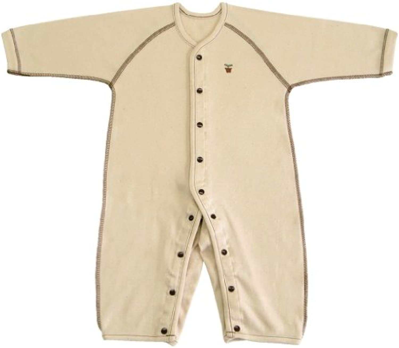 オーガニックコットン スムース 長袖前開きカバーオール肌着 90cm NO20612 日本製