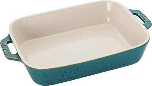 staub ストウブ 「 レクタンギュラー ディッシュ ターコイズ 20×16cm 」 セラミック グラタン皿 オーブン 電子レンジ 【日本正規販売品】 Vintage Color Dish 40511-868