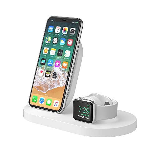 【Amazon.co.jp 限定】belkin Boost upワイヤレス充電ドック(Qi認証/iPhone + Apple Watch用、USB-A端子付属)[国内正規品] F8J235DQWHT-A