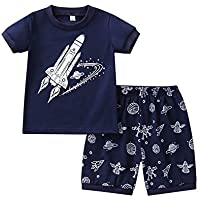 Weixinbuy Baby Boy's Short Sleeve Crewneck Graphic Cotton Pajama Set T-Shirt Clothes 2 Pcs Summer Sleepwear