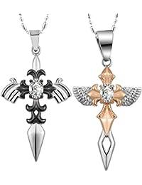 daesar 2pcs His & Hers Matching Setネックレスステンレススチール天使の翼CZラブペンダントとチェーン