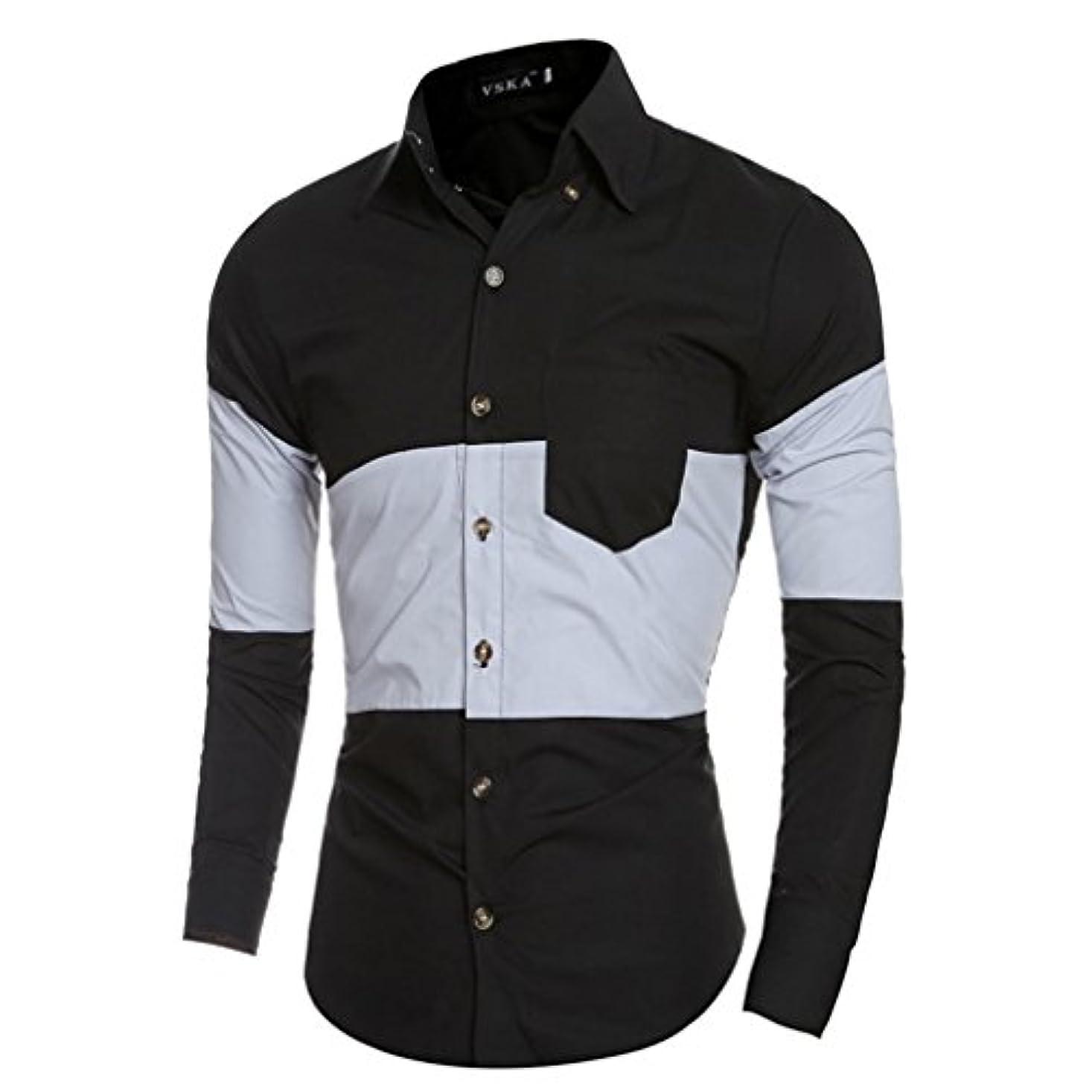 クラック触覚最も早いHonghu メンズ シャツ 長袖   ステッチ カジュアル スリム ブラック L 1PC