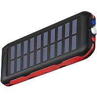 ソーラーチャージャー モバイルバッテリー 大容量急速充電器 25000mah 防水が実現 高輝度LEDライト付き SOS発信 ソーラーパネルを搭載 旅行/キャンプ/ハイキング/登山/地震/災害/旅行/出張/アウトドア活動などの必携品 99% 機種対応 持ち運びに便利 再用ナイロン袋付き 滑り止め
