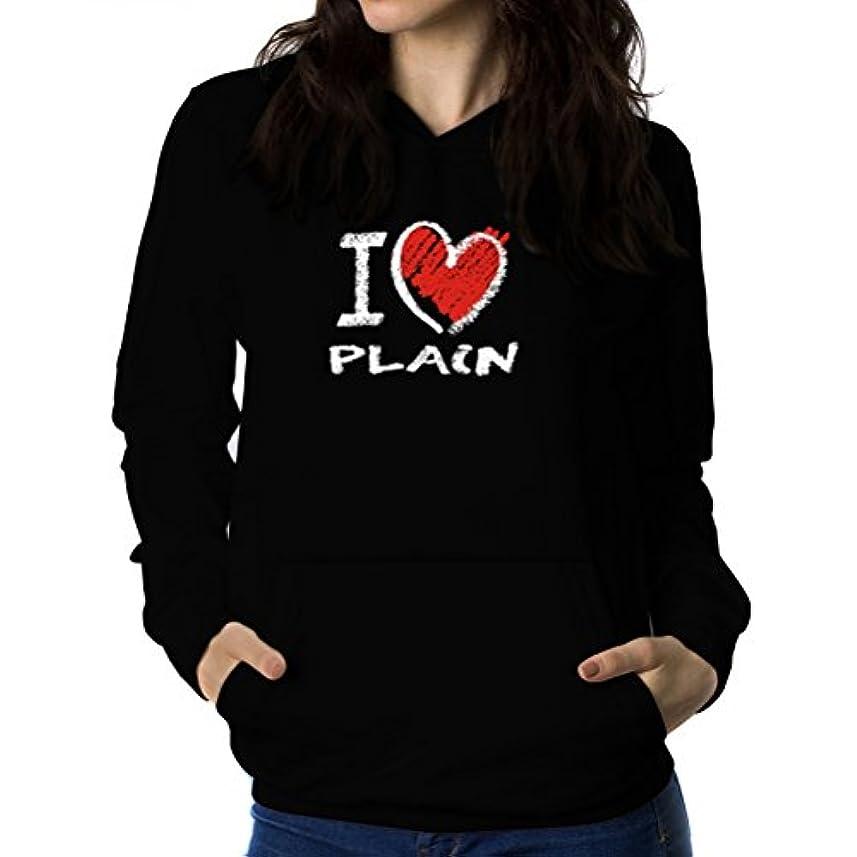友情大落ち込んでいるI love plain chalk style 女性 フーディー