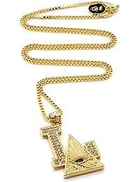 キングアイス KING ICE ネックレス ゴールドチェーン LA ホルスの目 ジルコニア K14メッキ 14金コーティング O/S GOLD