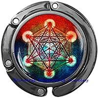 Metatron's キューブペダント Metatron's キューブパースフック 神聖な幾何学ハンドバッグフック 幾何学的な財布フック 男性用ジュエリー JP422 30mm
