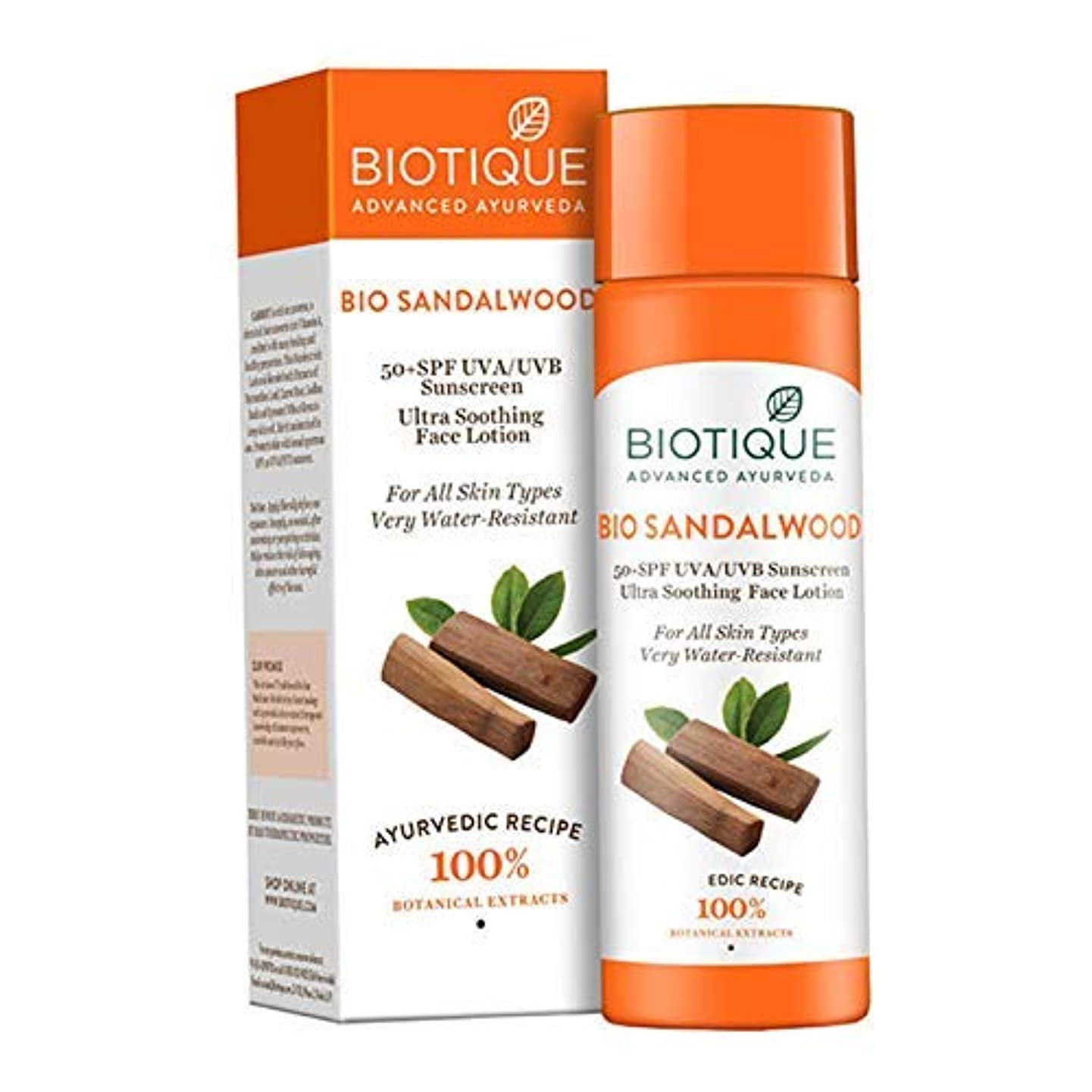 一時解雇する瞑想する小人Biotique Sandalwood Ultra Soothing Face Lotion 50+ SPF UVA/UVB Sunscreen, 120ml ビオティックサンダルウッドウルトラスージングフェイスローション...