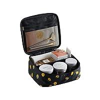 新しいマルチセルトラベルストレージバッグポータブル防水防水化粧品バッグコスメ収納化粧品収納ボックス (ブラックレモンb(黑色柠檬))