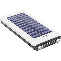 ソーラーチャージャー モバイルバッテリー24000mAh大容量QuickCharge3USB出力ポート太陽光で充電可能Android/iPhone/iPadなど等に対応災害/旅行/アウトドアに大活躍(White)